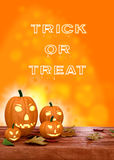 Halloween pumpkin lanterns on orange background Royalty Free Stock Image