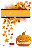 Halloween pumpkin with leafs Royalty Free Stock Photography