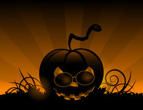 Halloween pumpkin with leafs holiday background Stock Image