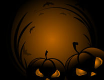 Halloween pumpkin with leafs holiday background Royalty Free Stock Photos