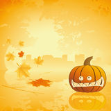 Halloween pumpkin with leafs and reflection Royalty Free Stock Photos