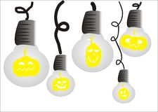 Halloween pumpkin light bulb Royalty Free Stock Images