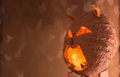 Halloween pumpkin. With a light into the shadows, Tone flame background Royalty Free Stock Photos
