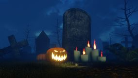 Halloween pumpkin and lighted candles near tombstone. Jack-o-lantern carved halloween pumpkin and lighted candles in front of old tombstone at spooky cemetery at Stock Image