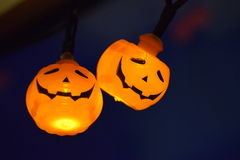 Halloween pumpkin lights. Brightening the room Stock Photos