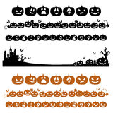 Halloween pumpkin line decoration in silhouette Royalty Free Stock Images