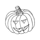 Halloween pumpkin, liner. Halloween pumpkin with happy face, isolated on white background. Hand draw Illustration in sketch style Stock Photo