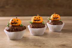 Halloween pumpkin, little monster dessert Royalty Free Stock Photo