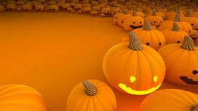 Halloween Pumpkin a lot in background with open sp Royalty Free Stock Photo