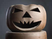 Halloween pumpkin made of clay close up Stock Photography