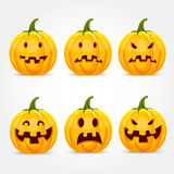 Halloween pumpkin making different expressions Royalty Free Stock Images