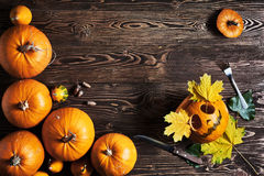 Halloween pumpkin man with knife and fork Royalty Free Stock Photo