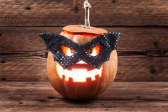Halloween pumpkin in mask Stock Photo