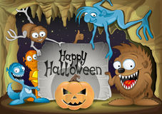 Halloween pumpkin and monsters. Stock Images