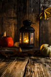 Halloween pumpkin moody picture with lantern Stock Photo