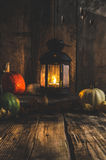 Halloween pumpkin moody picture with lantern Royalty Free Stock Photography