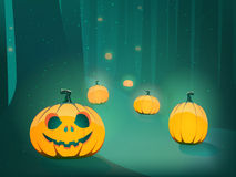 Halloween pumpkin in moon light in forest Royalty Free Stock Image