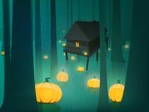 Halloween pumpkin in moon light forest swamp Stock Images