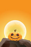 Halloween pumpkin in moon light on a rock Royalty Free Stock Photography