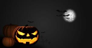 Halloween pumpkin moon night 3D render Royalty Free Stock Images
