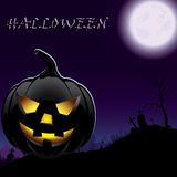 Halloween pumpkin in moonlight Royalty Free Stock Photos