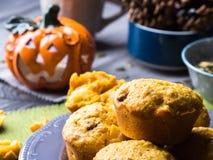 Halloween pumpkin muffins Stock Images