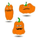 Halloween Pumpkin with mustache Stock Photos