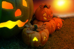 Halloween Pumpkin In A Mystic Forest At Night.Horror background Royalty Free Stock Photos