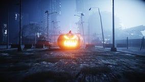 Halloween pumpkin in night destroyed city. Apocalypse concept. 3d rendering. royalty free stock images