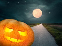 Halloween pumpkin at night of the full moon Stock Photography