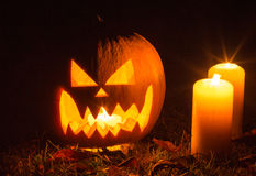 Halloween Pumpkin At Night Royalty Free Stock Photos