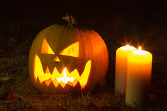 Halloween Pumpkin At Night Royalty Free Stock Photo