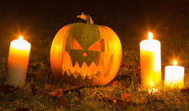 Halloween Pumpkin At Night Stock Photos