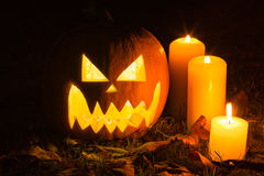 Halloween Pumpkin At Night Royalty Free Stock Image