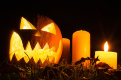Halloween Pumpkin At Night Stock Photography