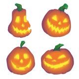 Halloween pumpkin objects jack o lantern realistic vector set background Royalty Free Stock Images