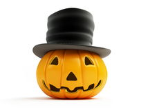 Halloween pumpkin old hat Stock Photo