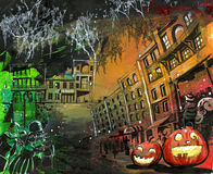 Halloween pumpkin old town painting Royalty Free Stock Photo