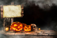 Halloween Pumpkin on old wooden table Stock Photography