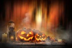 Halloween Pumpkin on old wooden table Stock Image