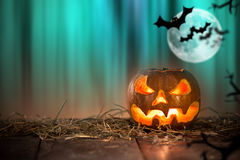 Halloween Pumpkin on old wooden table Royalty Free Stock Images