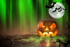 Halloween Pumpkin on old wooden table Royalty Free Stock Photo