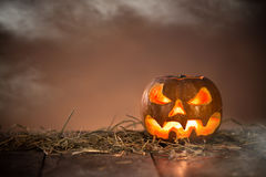 Halloween Pumpkin on old wooden table Royalty Free Stock Image