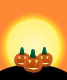 3 Halloween pumpkin on orange background with castle Stock Photo