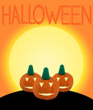 3 Halloween pumpkin on orange background with castle and text Stock Photography