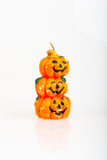Halloween Pumpkin Orange Candle Stock Image