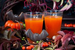 Halloween pumpkin orange cocktail. Festive drink royalty free stock photo