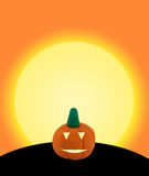 Halloween pumpkin on orange. Halloween pumpkin made from clay or plasticine on orange full monn background Royalty Free Stock Photos