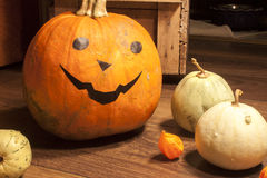 Halloween pumpkin. And other little decorative pumpkins, on wooden background Royalty Free Stock Images
