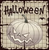 Halloween pumpkin over old paper Royalty Free Stock Photos
